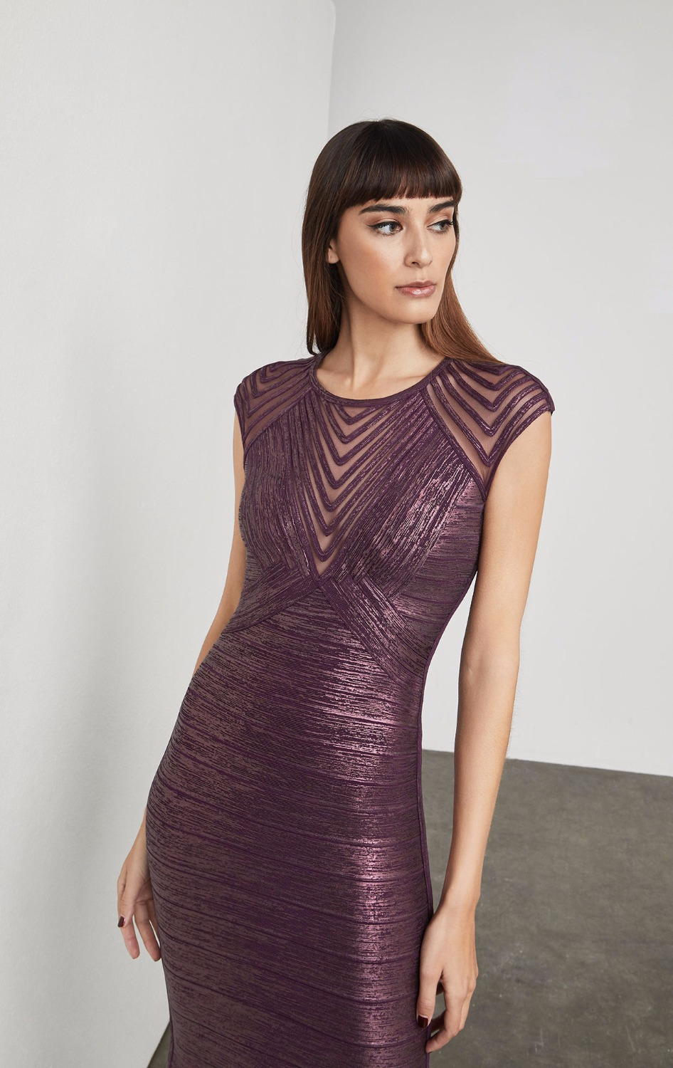 Purple Foil Color Ladies HL Bandage Dress Sleeveless Sexy Bodycon Mini Dress Elegant Evening Party Dress