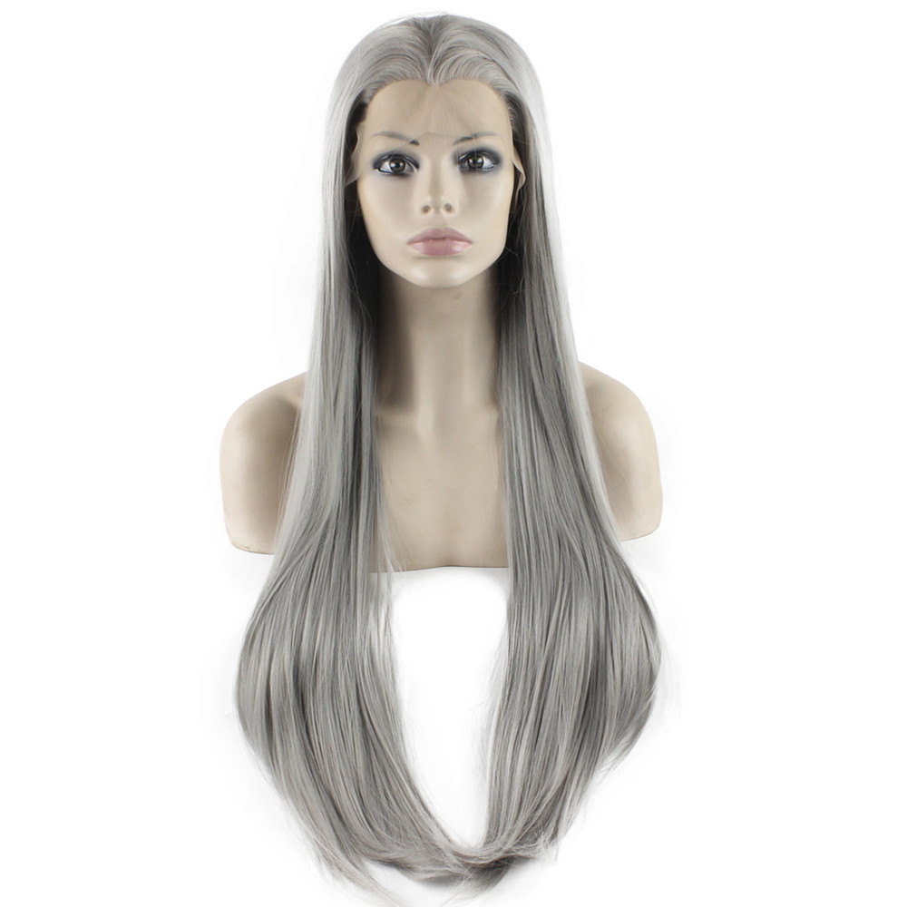 K22 Cheap Full 4503# Silver Color Straight Synthetic Lace Front Wigs High Quality Heat Resistant Kanekalon Wigs<br><br>Aliexpress