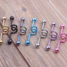 Industrial Scaffold Barbell Earring Double Belly Button Ring Anodized 14g 38mm long 7 color mix Body jewelry