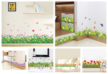% 6 kinds Pretty 3D Skirting Green leaves flowers Tulip purple Window stickers home decor living room Baseboard wall stickers &