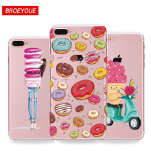 Soft TPU Coque For iphone 7 5s SE 6 6s 7 plus Phone Cases Fruits Flower Pattern Macarons Doughnut Cute Mobile Phone back Cover