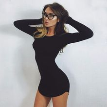 Buy 2017 women hot sale autumn mini dresses long sleeve irregular solid sexy dress tight slim short dress sheath sexy tight dress for $12.09 in AliExpress store