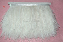 free shipping! 8-10 cm / 3-4 inch white ostrich feather trimmed ostrich feather fringed 1m / lot dress fabric production process