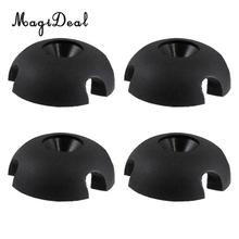 MagiDeal Durable 4Pcs Black Slotted Round Deck Line Guide Outfitting Kayak Sailing Rigging Replacement Acce for Canoe Boat Sport(China)
