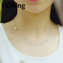 Korea Fashion 925 Silver Crystal Beads Necklaces 925 Sterling Silver Necklaces&Pendants Jewelry Collar Colar Free Shipping