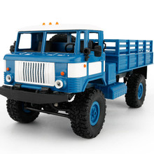 WPL B-24 2.4GHz 1/16 Toy Grade 4WD Assemble RC Military Truck Brushed Motor DIY Racing Trucks High Quality LED Control Car DE15b(China)