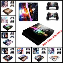 Fashion Sword Art Online Game Style Skin Sticker Cover For Playstation 4 Slim PS4 Slim Console & Decals Of 2 slim Controllers(China)