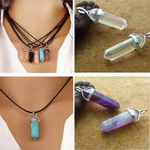 2015 Hot Faux Gem Rock Natural Quartz Healing Point Chakra Reiki Pendant Rope Necklace  4TY1