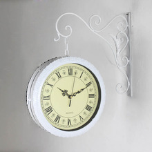 Double sided Wrought Iron Wall Clock Modern Design Watch Saat Wall Clocks Relogio de Parede Reloj de Pared Horloge Murale Klok(China)