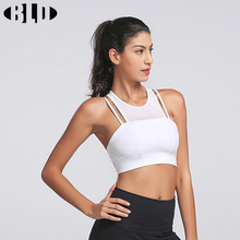 Yoga Bras Padded Stitching Mesh Double Shoulder Strap Sexy Fitness Top Halter Sport Bra Running Shockproof Reggiseno Sportivo