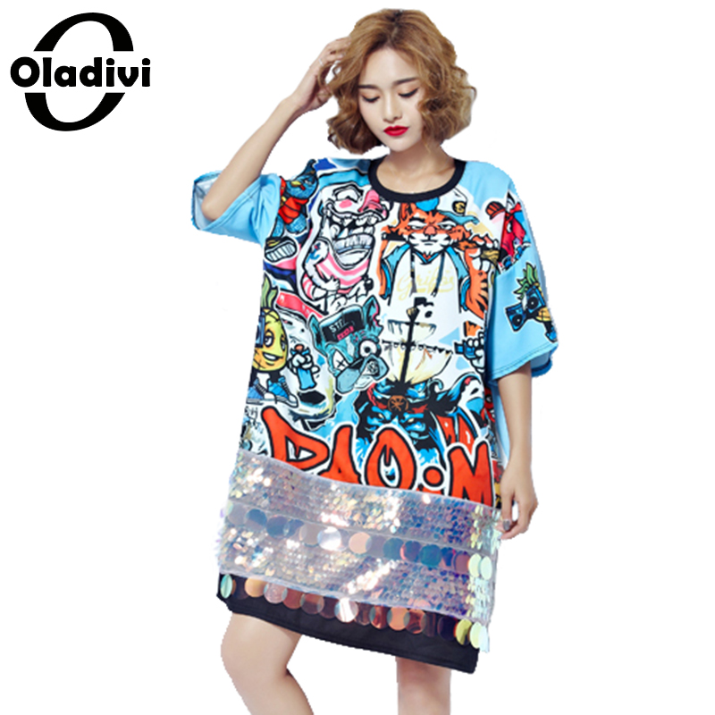 Oladivi Large Size Women Clothing 2017 Summer New Fashion Printing Sequins Dress Ladies Long Tops Tee Shirt Tunic Vestidos XXXXL