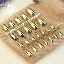 Long Size Full Cover Metallic Nail Tips Acrylic Mirror Surface Fake Nails Gold Color Salon Faux Ongles without Glue Sticker N01(China)