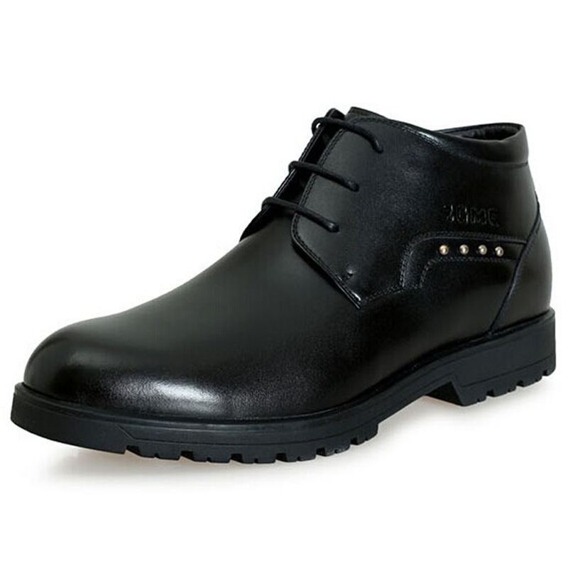 2.36 Inches Taller-Genuine Leather Heightening Elevated Boots Formal Business Keep Warm Shoes<br><br>Aliexpress