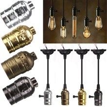 High Quality E27 Vintage Retro Edison Lamp Base Holder Pendant Bulb Light Screw Socket 4 Colors With Switch/No Switch 110V/220V(China)