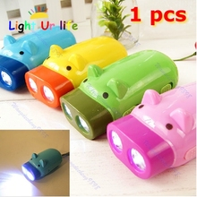 Hand Pressing Power 2 LED Pig Flash Light Flashlight Wind-up Dynamo Torch Lamp-2F