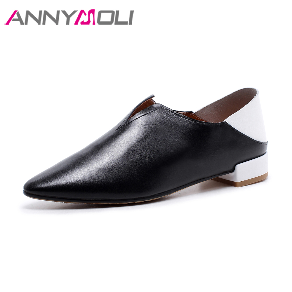 ANNYMOLI Genuine Leather Flats Women Shoes 2018 Slip Casual Shoes Spring Mix-color White Black Shoes Slip On Real Leather Flats<br>