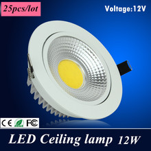 25X dhl High power  Led Downlight square cob Ceiling 12V 12W ceiling recessed Lights Warm Cool White Indoor Lighting