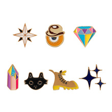 Cute kittens Star Cowboy Black Treasure Hunt Adventure Tour Stars Enamel Pins and Brooches for Women Badge Spille Donna(China)