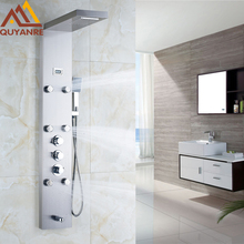 Rain Shower Pane Thermostatic Shower Faucet l 6pc Massage Jets with Hand Shower Shower Mixer Taps Brushed Nickle
