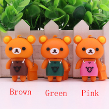Free Shipping U disk 4GB 8GB 16GB 32GB Cute apron Rilakkuma brown mini bear lovely personality usb 2.0 flash drive memory gift