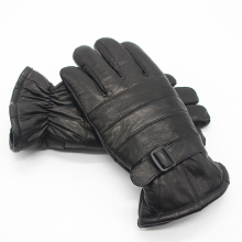 FURART 2017 New Products Winter Fashion Men's Black Gloves High Quality Wool Leather Gloves Outdoor Thicken Warm Ridding Gloves(China)