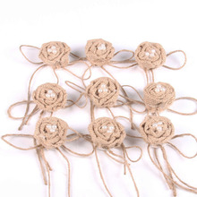 9pcs Party Decor Burlap Pearl Rose Flower Hessian Jute Flower Rustic Vintage for Christmas Wedding Embellishments