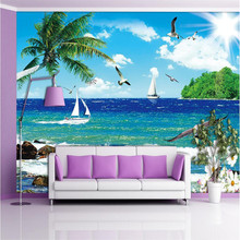 beibehang wall paper Luxury Quality H Seagull sea island blue sky palm sailboat 3d large wallpaper wall mural papel de parede