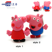 cartoon cute 2 styles pink pig Pen drive 4g 8g 16g 32g usb flash drive memory stick storage device fashion gift metal chain