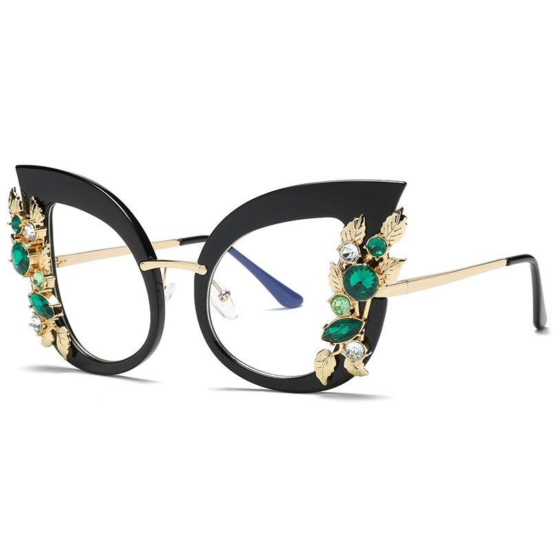 Sport Sunglasses Cycling Eyewear Womens Fashion Artificial Diamond Cat Ear Metal Frame Brand Classic Sunglasses #2J06#F (20)