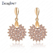 Beagloer Prom Party Earrings Pink Austrian Crystal SWA Element Earring Studs Fashion Jewelry 16*28mm ER0071-C