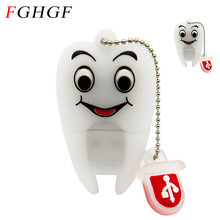FGHGF Pen Drive Gift Teeth Cute Model 8GB/16GB/32GB/64GB Usb Flash Drive, Tooth Flash Memory Stick Pendrive Dentist U Disk(China)