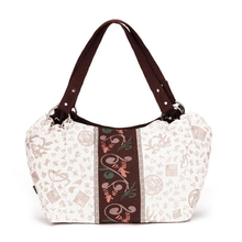 Dongba Folk Style Canvas Flower Printing Ladies Bags Indian Women Tote White Handbags Stamp Retro Pull Ring Single Shoulder Bags