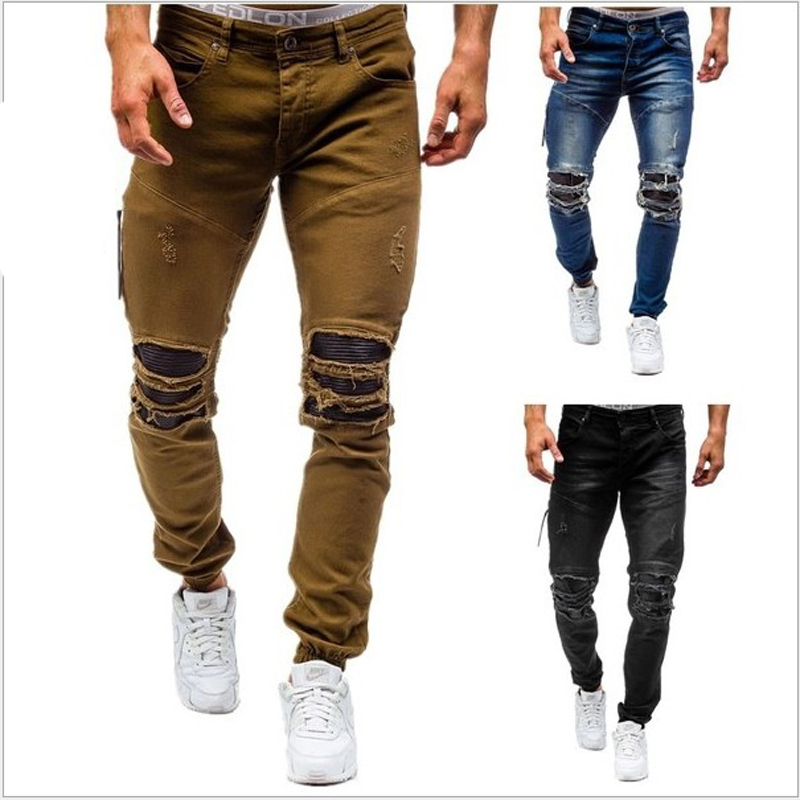 Mens Pleated Biker Jeans Pants Slim Fit Brand Designer Motocycle Denim Trousers For Male Straight Washed Multi ZipperÎäåæäà è àêñåññóàðû<br><br>