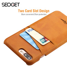 Seoget Leather Back Case For iPhone 6 6s Plus case cover With Card Slot Wallet Soft Case For iPhone 7 plus phone cover coque