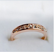 R086 Latest Fashion Simple Single Row Of Small Gold Imitation crystal Ring Jewelry Factory Direct