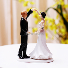 Free Shipping Romantic Dance Couple Figurine Resin Wedding Cake Toppers(China)