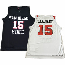 Kawhi Leonard #15 College White/Black Stitched Basketball Jersey Sewn Camisa Embroidery Logos
