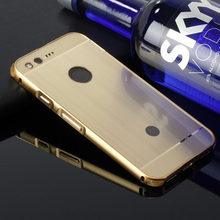 "Phone Case for Google Pixel 5.0"" Aluminum Metal Frame + Wire Drawing Effect Acrylic Phone Cover case for Google Pixel XL 5.5"""