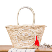 Fashion Hot Summer Beach Handbag Straw Bag Smiling Face Women Shopping Tote Large Tassels Weave Woven Travel Shoulder Bag