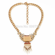 2014 Luxury Accesssories Heavy Chain Charm Gold Color Spike Pendant Necklace