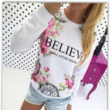 White Pink Hoodies Women Autumn Floral Print Pullovers Long Sleeve Spring Hoodie 2016 Casual Letter Sweatshirt Women Tops A860