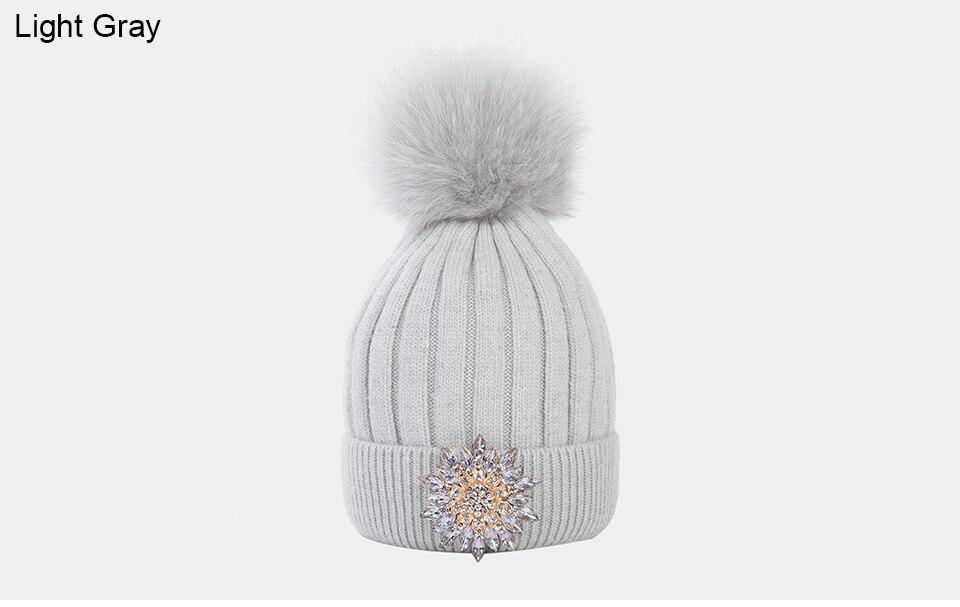 Ralferty Women's Real Fox Pompom Hat Knitted Rabbit Skullies Winter Hats For Women Big Flower Crystal Beanies Black Cap bonnet 10