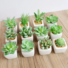 INDIGO- Mini FROSTLIKE Artificial Succulent Plant With Vase Potting Set Plastic Flower Decoration Green Plant Free Shipping