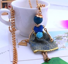 Gold Cute Assorted Colors Yarn Crystal Meshes Doll Necklace with Flower Women Jewelry Female Accessories Beads Bijoux(China)