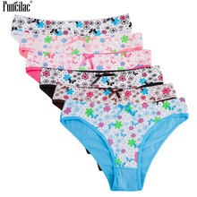 Buy FUNCILAC Women Cotton Underwear Sexy Panties Colored Floral Pattern Printed Briefs Bow-knot Bikini Knickers Ladies 6Pcs/lot