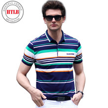 HTLB Brand Boss RalphMen Polo Shirt Slim Fit Short Sleeve Pure Cotton Elastic Clothing Fashion Summer Striped Mens Polo Shirts(China)