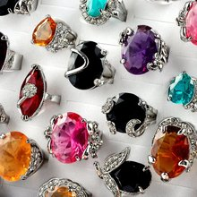 10pcs/lot Mix Colors Big Crystal Ring Silver Plated Cubic Zircon Rings for Women Wedding Fashion Jewelry Bridal Bague Size 5-10