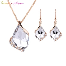 Yunkingdom White Crystal Earrings Gold Color Necklaces& linked Earrings Geometric Design Wedding Jewelry Sets For Women