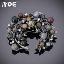 IYOE Colorful Natural Stone & Rhinestone Bead Leaf Brooches and Pins Vintage Style Big Women Brooch Wedding Accessories Jewelry