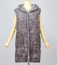 new arrival women's winter overcoats made by 100% natural real mink fur knitted vest exported products(China)